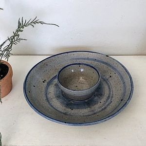 Vintage Handmade Pottery Chip & Dip Guacamole Bowl